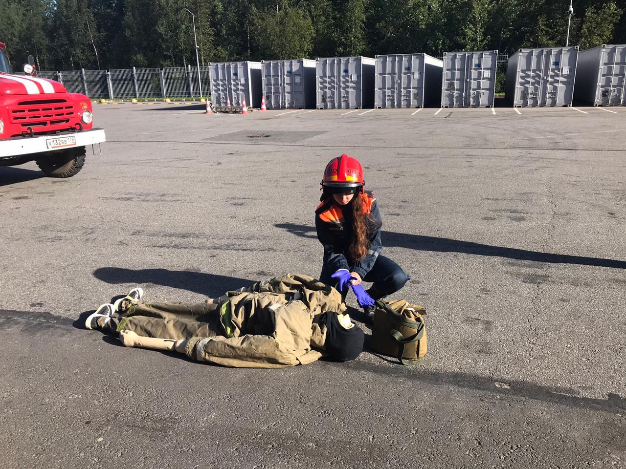 Пожарно-тактические учения на заводе Ломоносовского района